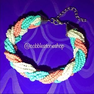Braided bead Bracelet pink blue white adjustable
